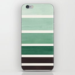 Marine Green Minimalist Mid Century Modern Color Fields Ombre Watercolor Staggered Squares iPhone Skin