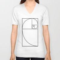 fibonacci V-neck T-shirts featuring fibonacci spiral by nyealexanda