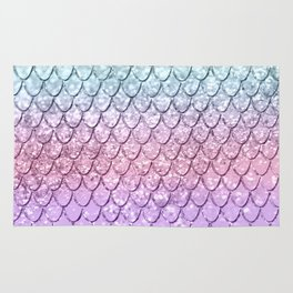 Mermaid Scales on Unicorn Girls Glitter #4 #shiny #pastel #decor #art #society6 Rug