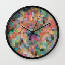 Colorful pixelated pattern vibrant colors wallpaper background Wall Clock
