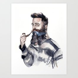 Brutal man sailor smoking a pipe Art Print