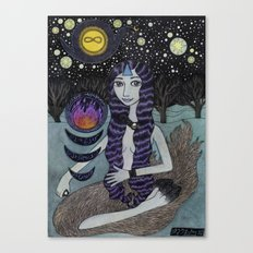 Girl Building a Fire Canvas Print