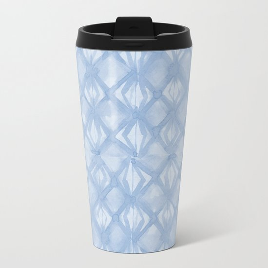 Braided Diamond Sky Blue on Lunar Gray Metal Travel Mug