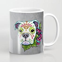 Boxer in White- Day of the Dead Sugar Skull Dog Coffee Mug