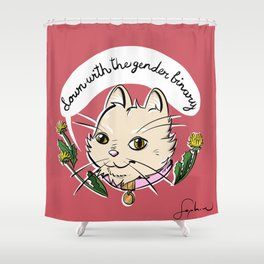 Down With the Gender Binary Cat Shower Curtain
