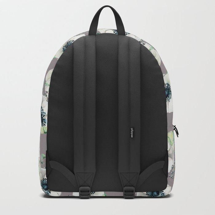 Soothing Rose Garden Gray + White Navy Backpack