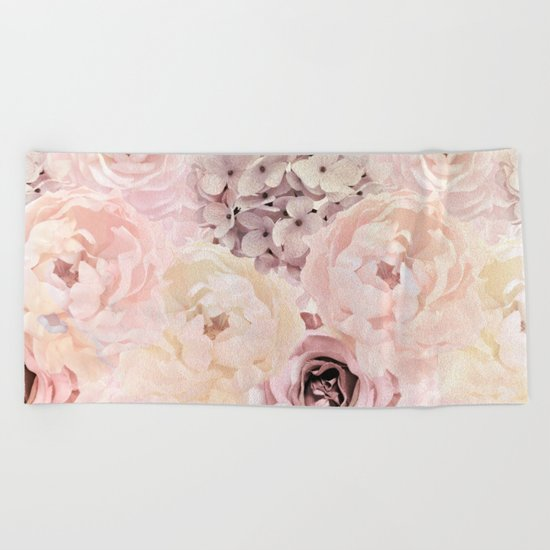 Midsummer Roses- Vintage Rose Pattern Beach Towel