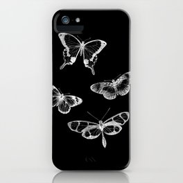 Vintage Butterflies Illustration on Black Background iPhone Case