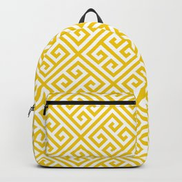 yellow white pattern - Greek Key pattern -  Greek fret design Backpack