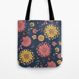 Multi-Florals in Blue & Coral Tote Bag