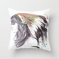 indiana Throw Pillows featuring Indiana  by Megan Sheridan