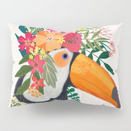 Toucan with flowers on head Pillow Sham