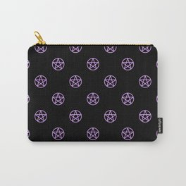Purple Pentacle Pattern on Black Carry-All Pouch