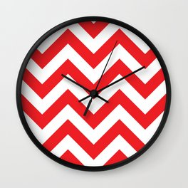 Large chevron pattern / red Wall Clock