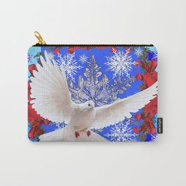 RED POINSETTIAS, WHITE DOVE CHRISTMAS SNOWFLAKES Carry-All Pouch