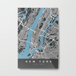 New York Map | Black & Blue | More Colors, Review My Collections Metal Print