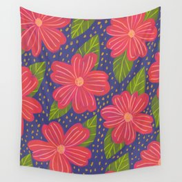 red flowers navy background pattern Wall Tapestry