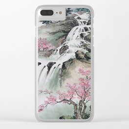 WATERFALLS AND MOUNTAIN LANDSCAPE Clear iPhone Case