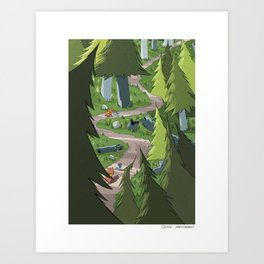 Bird and Squirrel on the Edge! Art Print