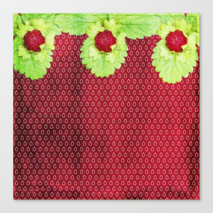 Strawberry LOVE - Strawberries pattern and Illustration Canvas Print