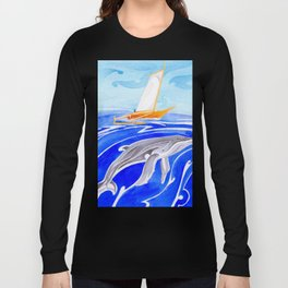 humpback whale and polynesian outrigger sail boat Long Sleeve T-shirt