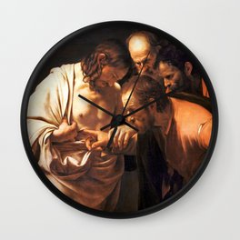 The Incredulity of Saint Thomas by Caravaggio (1602) Wall Clock