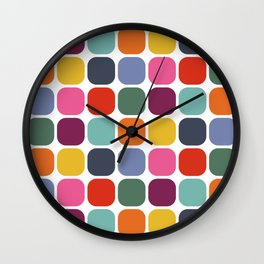 Colorful Mid Century Modern Rounded Square Tile Pattern Wall Clock