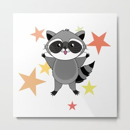 Kawaii raccoon Metal Print