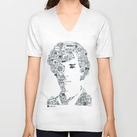 benedict V-neck T-shirts featuring Benedict Cumberbatch by Ron Goswami