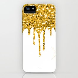 Gold Glitter Sparkle Drips iPhone Case