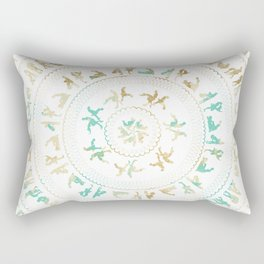 Kama Sutra Mandala Blue and Gold Rectangular Pillow