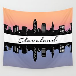 Cleveland Skyline color Wall Tapestry