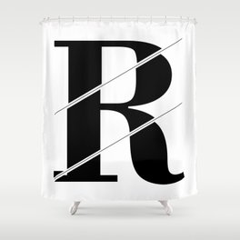 """""""Sliced Collection"""" - Minimal Letter R Print Shower Curtain"""