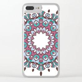Pinkish Turquoise 12 Mandala Clear iPhone Case