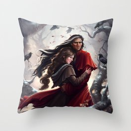 The Brush of Black Wings Throw Pillow