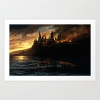 harry potter Art Prints featuring Harry Potter - Hogwart's Burning by Juniper Vinetree