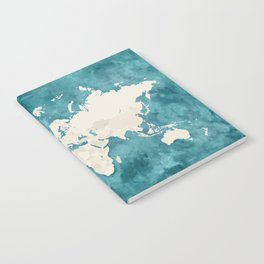 Teal watercolor and light brown world map Notebook