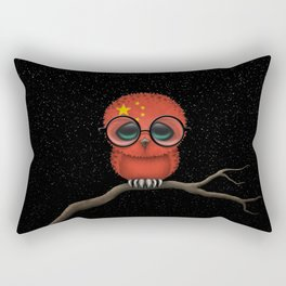 Baby Owl with Glasses and Chinese Flag Rectangular Pillow