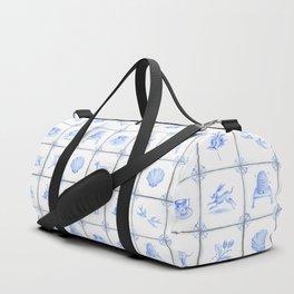 Blue and White Deft Tile Design Duffle Bag