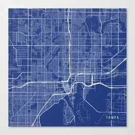 Tampa Map, USA - Blue Canvas Print