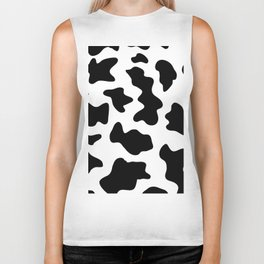black and white ranch farm animal cowhide western country cow print Biker Tank