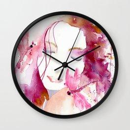 Pink Woman Wall Clock
