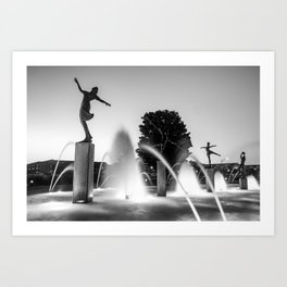 Kansas City's Children Fountain at Dawn - Black and White Art Print