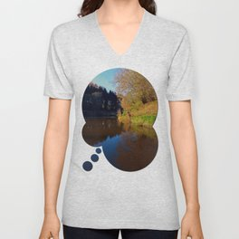 Romantic evening at the pond | waterscape photography Unisex V-Neck