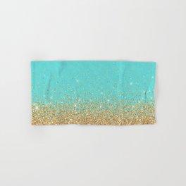 Sparkling gold glitter confetti on aqua teal damask background Hand & Bath Towel