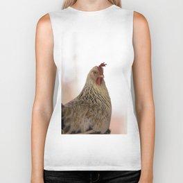 A chicken in the portrait Biker Tank