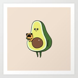 Avocado with Pug Art Print