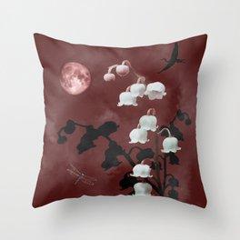 Bell Flowers in Cloud Throw Pillow
