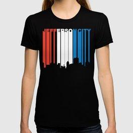 Red White And Blue Jefferson City Missouri Skyline T-shirt