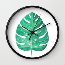 Monstera Leaf #2   Watercolor Painting Wall Clock